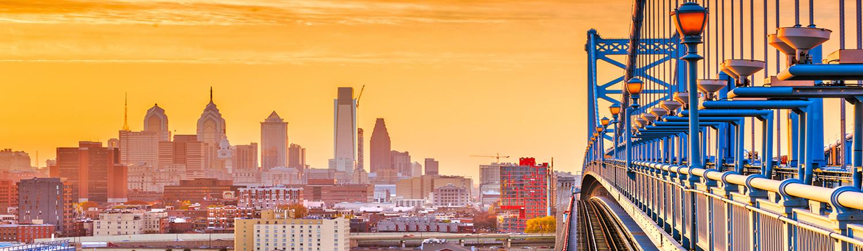 View of Philadelphia from Benjamin Franklin Nridge at sunset