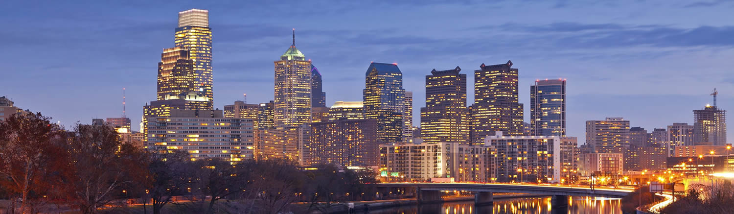 Skyline of Philadelphia at twilight blue hour